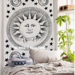 Celestial White and Black Sun Moon Planet Wall Tapestry