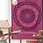 Pink King Procession Bohemian Mandala Tapestry