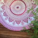 Pink Floral Multi Ombre Roundy Beach Towel, Mandala Roundie