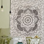 Black Plum and Bow Geometric Ombre Mandala Tapestry