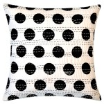Black and White Polka Dots Kantha Throw Pillow Cover