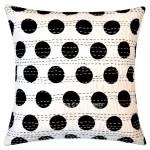 Black and White Polka Dots Kantha Throw Pillow Cover