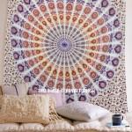 White Multi Blend of Brown & White Peafowl Mandala Tapestry