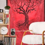 Red Small Celtic Spirits Tree Of Life Tapestry