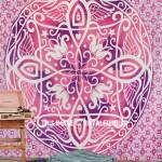Big Pink Symmetry Medallion Ombre Mandala Wall Tapestry