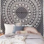 Black and White Multi Elephants Ring Circle Medallion Mandala Tapestry, Boho Bedspread