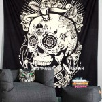 Black & White Psychedelic 3D Mindful Skull Wall Tapestry