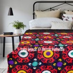 Black and Red Suzani Floral Medallion Cotton Kantha Quilt Blanket