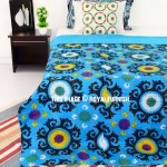 Small Turquoise Suzani Flower Printed Kantha Blanket Throw