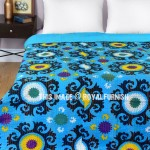 Small Turquoise Suzani Flower Printed Kantha Blanket Throw