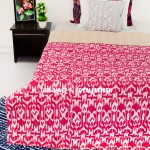Pink Cotton Handmade ZigZag Patterned Ikat Kantha Quilt Throw