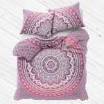 Pink Purple Queen Medallion Mandala Duvet Cover with Set of 2 Pillow Covers