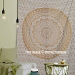 Small Glitter Gold Floral Trippy Ombre Medallion Mandala Wall Tapestry