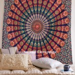 Blue Multi Goddess Plum and Bow Medallion Cotton Wall Tapestry