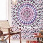 Maroon & Green Chili Medallion Mandala Cotton Wall Tapestry
