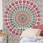 Small Green & Brown Chili Medallion Mandala Wall Tapestry