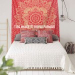 Small Red & Gold Color Geometric Medallion Mandala Tapestry