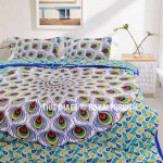 Blue & Yellow Peacock Wings Mandala Boho Duvet Cover Set with 2 Pillow Covers