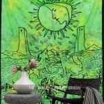Green & Yellow The Moon Tarot Wall Tapestry