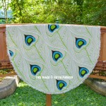 Parrot Green Peacock Feathers Cotton Beach Roundie Throw