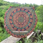 Green & Red Multi Herd Of Elephants Mandala Beach Roundie