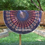 Blue Multi Odette Pom Pom Cotton Mandala Roundie Beach Throw