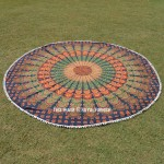 Multi Green Colorful Evershine Mandala Roundie Beach Throw
