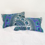 Blue Bush Morning Elephant Boho Mandala Bed Pillow Covers Set of Two