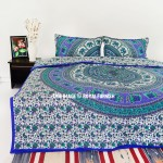 Blue Bush Morning Elephants Boho Mandala Bedding Duvet Covers Set with 2 Pillow Cases