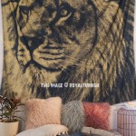 Gold & Black Lion Face Wall Tapestry