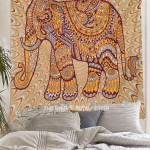 Yellow & Maroon Bohemian Art Featuring Elephant Wall Tapestry