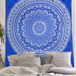 Royal Blue Bohemian Dreams Mandala Throw Bedspread Wall Tapestry