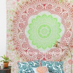 Red Green Folklorica Medallion Mandala Wall Tapestry