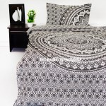 Gray & Black Goddess Twin Bohemian Mandala Bedding Duvet Cover Set with 1 Pillow Sham