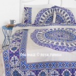 White & Blue Bliss Bohemian Gypsy Mandala Bedding Duvet Cover Set with 2 Pillow Cover