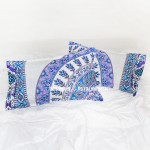 White & Blue Devi Medallion Mandala Pillow Covers Set of Two