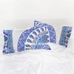 White & Blue Devi Medallion Mandala Pillow Covers Set of Two