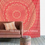 Red Shiny Gold Indian Ombre Mandala Wall Tapestry