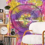 Pink Purple Colorful Bohemian Mandala Wall Tapestry