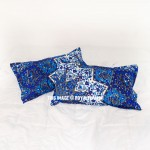 Blue Grey Multi 3D Boho Star Bed Pillow Cases Set of Two