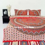 Red Kerala Mandala Bedding Duvet Covers Set with 2 Pillow Cases