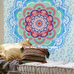 Turquoise Camellias Bohemian Mandala Wall Tapestry