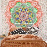 Orange Multi Camellias Mandala Cotton Wall Tapestry