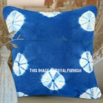 Decorative Light Blue Shibori Circles Indigo Throw Pillow Cover 16 Inch