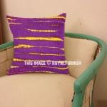 Purple Striped Shibori Square Throw Pillow Case 16X16 Inch