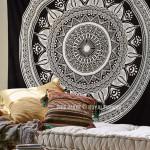 Black & White Long Leafs Circle Mandala Tapestry, Boho Wall Hanging