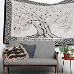 Black & White Twin Tree of Life Wall Tapestry, Inspiration Tapestry