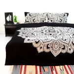 Black & White Mandala Bedding Duvet Cover Set with 2 Pillow Covers