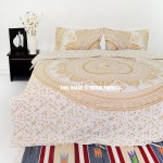 Gold Glimmer Daisy Boho Chic Mandala Bedding Duvet Cover Set with 2 Pillow Shams