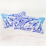 Blue Turquoise Anemone Medallion Ombre Mandala Pillow Covers Set of Two
